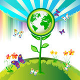 Eco Earth flowers stock illustration