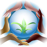 Eco Earth. Illustration with various color human hands holding green sprouts inside the sphere royalty free illustration