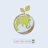 Eco earth in retro style. Retro style of the earth.Green Eco idea.Vector illustration.Earth day concept Royalty Free Stock Photos