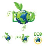 Eco earth symbols green and blue color Royalty Free Stock Image