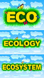 Eco - Ecology - Ecosystem. Abstract Sky textured titles with grass around Stock Images