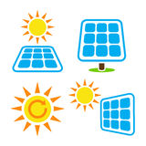 太阳电池板-被设置的eco eergy象 免版税库存照片