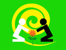 Eco ekologii międzyrasowy zielony tło royalty ilustracja