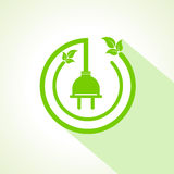 Eco electric plug with leaf stock vector Stock Photo