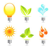 Eco in electricity. Eco abstract icons for designers Stock Illustration
