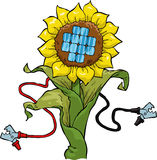 Eco electricity. Cartoon flower with solar panel vector Stock Photos