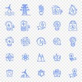 Eco electricity icon set. 25 icons royalty free illustration