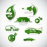 Eco-Elektroauto-freundliche Umwelt-Maschinen-Netz-Ikonen-gesetztes grünes Logo Stockfotos