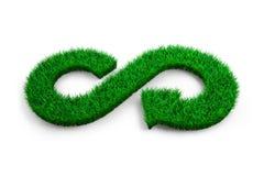 ECO en cirkeleconomieconcept Het groene gras in vorm van pijloneindigheid recyclingssymbool op witte achtergrond, 3D illustratie stock foto's