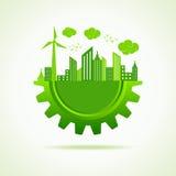 Eco en cityscape med kugghjulet Fotografering för Bildbyråer