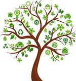 Eco energetyczny pojęcia ikon drzewo - 3 Obrazy Stock