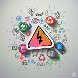 Eco energicollage med symbolsbakgrund Arkivbild