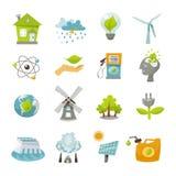 Eco-Energie-Ikonen flach Lizenzfreie Stockfotos