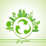 Eco-Energie-Konzept mit Blatt, Stadtbild und und bereiten Ikone auf Stockfotografie