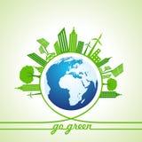 Eco-Energie-Konzept mit Blatt, Stadtbild und Erde Stockfotos