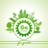 Eco-Energie-Konzept mit Blatt, Stadtbild und Gang Lizenzfreie Stockfotos
