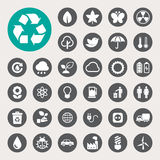 Eco-Energieikonen eingestellt. Stockbilder