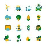 Eco-Energieikonen eingestellt Stockfotografie