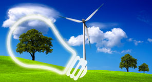 Eco energy. Wind turbine on green field Royalty Free Stock Photos