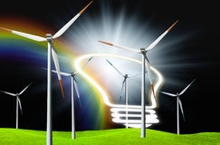 Eco energy. Windmill on the field Stock Photo