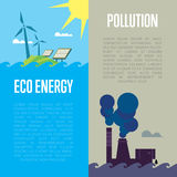 Eco Energy And Air Pollution Banners Stock Photo