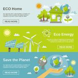 Eco Energy Banner. Eco energy horizontal banner set with green home planet flat elements isolated vector illustration Royalty Free Stock Images
