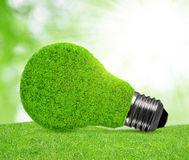 Eco energy bulb in grass. Green energy concept Royalty Free Stock Images