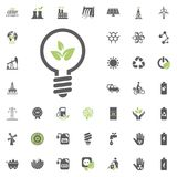 Eco energy bulb icon. Eco and Alternative Energy vector icon set. Energy source electricity power resource set vector. Eco energy bulb icon. Eco and Alternative Stock Image