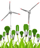 Eco energy bulbs with wind turbines Stock Photo