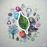Eco energy collage with icons background. Vector illustration Stock Image
