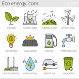 Eco energy color icons set Stock Images