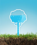 Eco energy concept. Eco concept in the grass, graphic tree with water Stock Photos