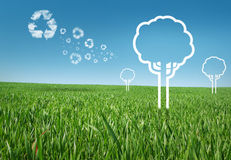 Eco energy concept. Eco concept in the grass, recycle concept with graphic trees Stock Photos