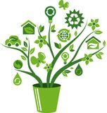 Eco energy concept icons tree - 1. Eco concept green tree with many ecological icons and logos Stock Photos