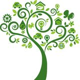 Eco energy concept icons tree - 2 Royalty Free Stock Photo