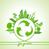 Eco Energy Concept with leaf,cityscape and and recycle icon. Stock vector Stock Photography