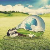 Eco energy concept. Light bulb with green world inside over natural backgrounds with shallow DOF Stock Photography