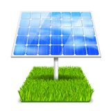 Eco energy. Concept solar panel in grass vector illustration Stock Photos
