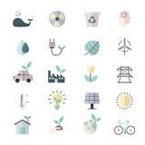 Eco Energy and Environment Icons Flat Color Stock Photography