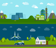Eco energy flat banners set Royalty Free Stock Image
