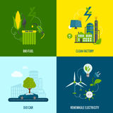 Eco energy flat icons composition Stock Image