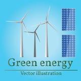 Eco energy. Green energy. Wind energy. Solar energy. Vector. Eco Royalty Free Stock Image