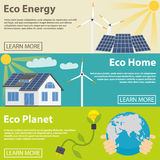 Eco energy horizontal banner set with green home Royalty Free Stock Photography