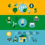 Eco energy horizontal banners set Royalty Free Stock Images
