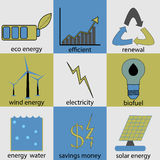 Eco energy icon set Royalty Free Stock Photo