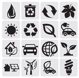 Eco energy icons. Vector black power and energy icons Stock Images