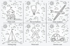Eco energy icons. Energy sun, wind and water. Royalty Free Stock Photo