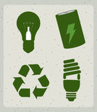 Eco energy icons. Over pattern background vector illustration royalty free illustration