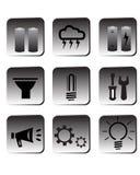 Eco energy icons. Set of black eco energy icons Stock Photo