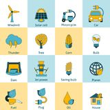 Eco energy icons set Stock Photos